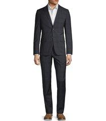 theory men's rodolf two-piece plaid suit - blue black - size 44 r