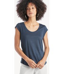 sanctuary women's alma scoop tee in color: navy vibration size large from sole society