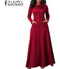 zanzea vestido de noche para fiesta de noche bolsillos de manga larga con lazo vestido largo liso -rojo