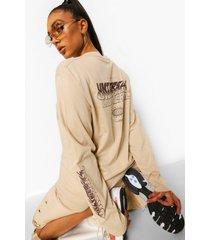 oversized universal shirt met lange mouwen, stone