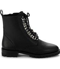 janyi leather chain booties