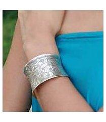 sterling silver cuff bracelet, 'autumn bouquet' (india)