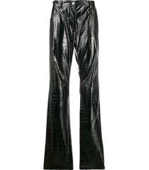 msgm crocodile embossed straight trousers - black