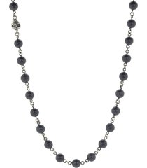 onyx and silver skull bead necklace