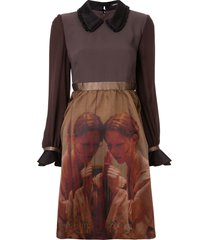 undercover printed babydoll dress - brown