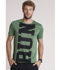 """camiseta masculina esportiva ace """"run"""" mescla manga curta gola careca verde"""