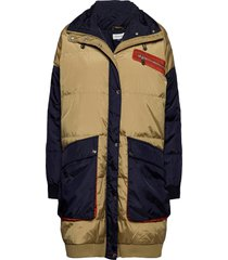 dhastra down jacket gevoerde lange jas multi/patroon denim hunter