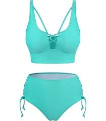 cross lace-up high waisted tankini swimwear