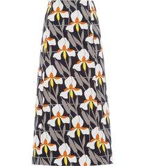 prada geometric orchid print a-line skirt - grey