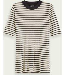 scotch & soda tencel™ t-shirt met strepen en korte mouwen