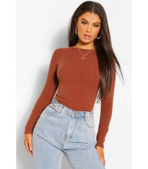 crew neck long sleeve knitted rib top, chocolate