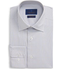 men's big & tall david donahue trim fit performance stretch plaid dress shirt, size 18.5 - 36/37 - beige