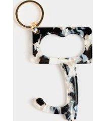 black & white door opener key ring - black/white