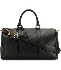 chanel pre-owned 1992 cosmos line 2way travel bag - black