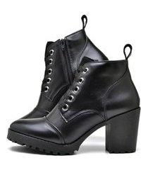 bota cano curto coturno de couro feminina preto