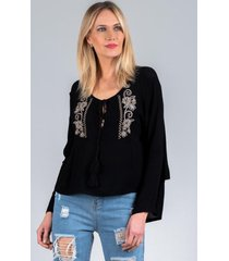 blusa bordada loren negro night concept