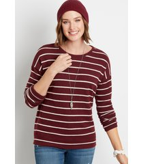 maurices womens maroon stripe straight hem pullover red
