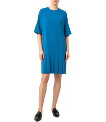 women's akris punto pleat crepe shift dress, size 12 - blue