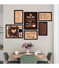 conjunto kit 6 quadros decorativos cantinho do cafã© paz amor cafã© moldura preta - preto - dafiti