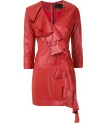 andrea bogosian leather scarlet short dress - red
