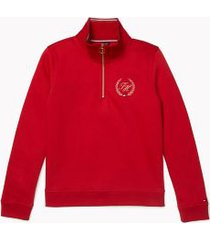 tommy hilfiger women's adaptive half-zip crest sweatshirt haute red - xl