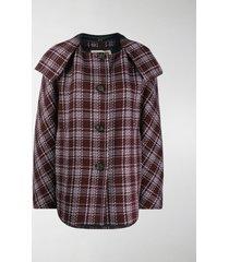 marni check pattern coat