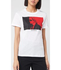 karl lagerfeld women's legend colour block t-shirt - white - l