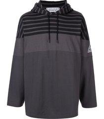 martine rose stripe detail hoodie - grey