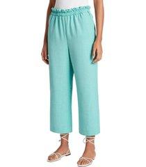 tahari asl paperbag-waist cropped pants