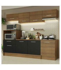 cozinha completa madesa onix 240003 com armario e balcão rustic/preto 5z7k rustic/rustic/preto