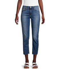 joe's jeans women's straight crop raw-edge jeans - blue - size 28 (4-6)