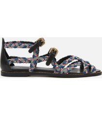 see by chloé women's braidlace sandals - red blue/black white - uk 7