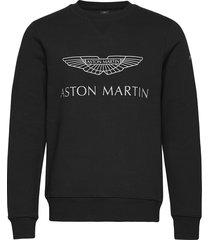 amr logo crew sweat-shirt tröja svart hackett london