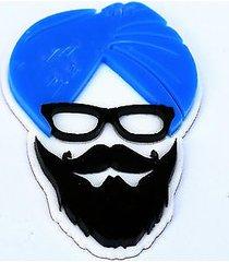sikh punjabi sardarji blue turban singh khalsa acrylic adhesive back sticker