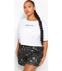plus dream pyjama set met shorts, zwart