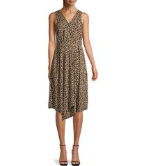 beach lunch lounge women's leopard-print sleeveless dress - animal print - size s