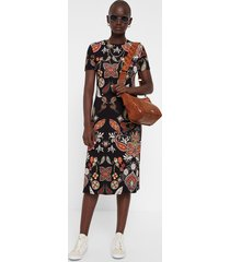 midi dress paisley print - black - xl