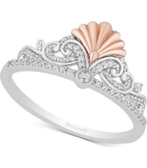 enchanted disney diamond ariel tiara ring (1/5 ct. t.w.) in sterling silver & 14k rose gold