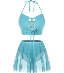 plus size halter lace up skirted tankini swimsuit