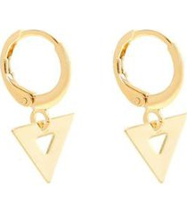 brinco piuka mini argola triângulo folheado ouro feminino - feminino
