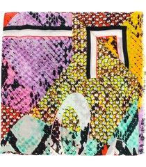 lala berlin patchwork python-print scarf - red