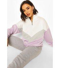 chervron colour block zip high neck sweatshirt, lilac