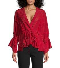 iro women's eternal lace-trim silk top - ecru - size 34 (2)