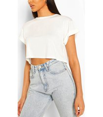basic roll sleeve crop t-shirt, ivory