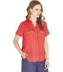 blusa manga corta rojo lorenzo di pontti