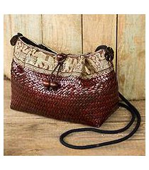 natural fibers with cotton accent shoulder bag, 'brown siam parade' (thailand)