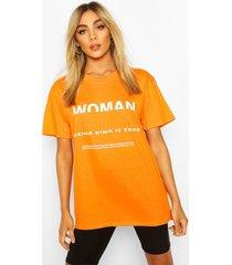 woman print t-shirt, orange