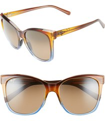 women's maui jim alekona 55mm polarizedplus2 sunglasses - caramel with blue/ hcl bronze