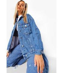 oversized spijkerjas met verfspetters, middenblauw