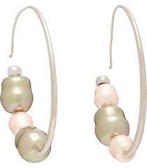 iridescent bead hoop earrings